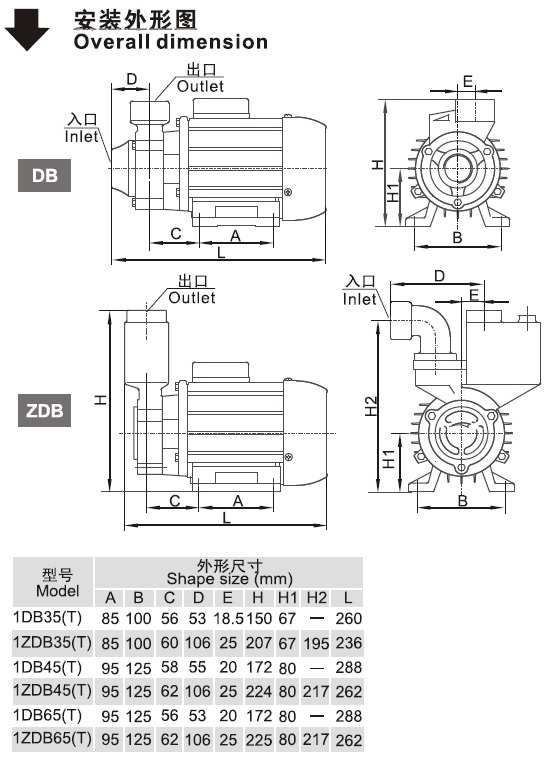 ZDB系列万博官方网址电脑版泵安装外形图